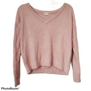 Sale 🛍 Garage V-Neck Ribbed Pink Sweater